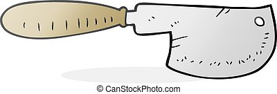 cartoon meat cleaver - freehand drawn cartoon meat cleaver