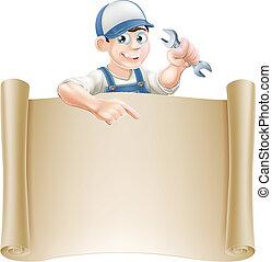 Cartoon mechanic and scroll - A mechanic or plumber holding...