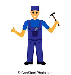 cartoon mechanic, locksmith with a hammer and wrench vector