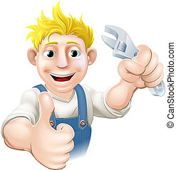 Cartoon mechanic or plumber - Illustration of a cartoon...