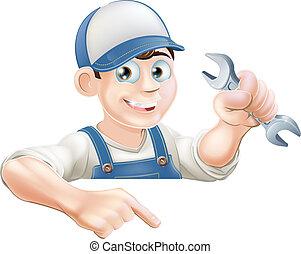Cartoon mechanic peeking over sign - A cartoon plumber or...