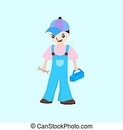 Cartoon mechanic, vector