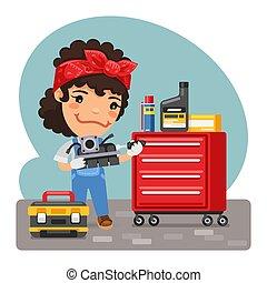 Cartoon Mechanic Woman in a Workshop