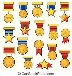 cartoon medals set