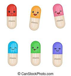 Cartoon medical capsules
