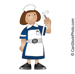 medical nurse - Cartoon medical nurse isolated on white...