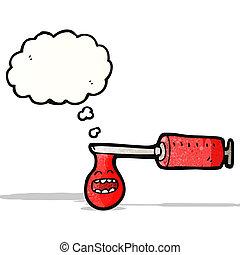 cartoon medical syringe of blood