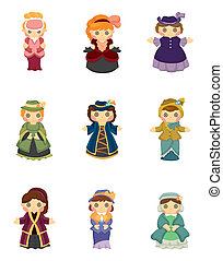 cartoon Medieval beautiful girls.
