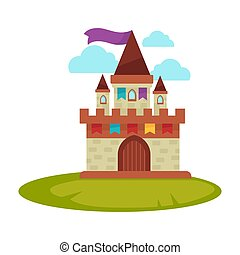 Cartoon medieval castle with high towers with flag isolated