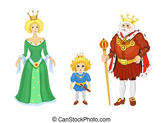 Cartoon Medieval characters. Fairy tale King queen and prince icons. Fairytale fantasy vector set
