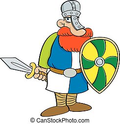Cartoon medieval knight holding a shield and a sword.