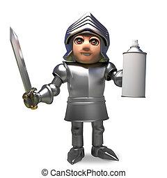 Cartoon medieval knight in armour holding a blank aerosol spray can, 3d illustration
