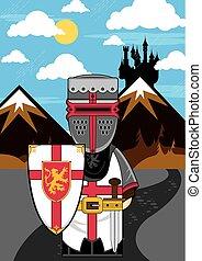 Cartoon Medieval Knight Scene