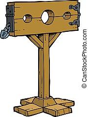 Cartoon medieval stocks - Cartoon doodle medieval stocks on...