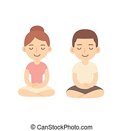 Young woman and man couple meditating in lotus pose. Cute cartoon meditation illustration.