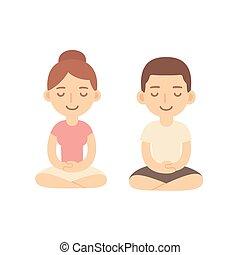 Cartoon meditating couple - Young woman and man couple...