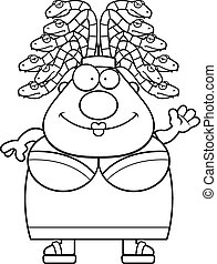 Cartoon Medusa Waving