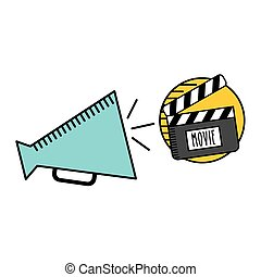 cartoon megaphone cinema movie icon