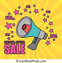cartoon megaphone special offer sale pink star