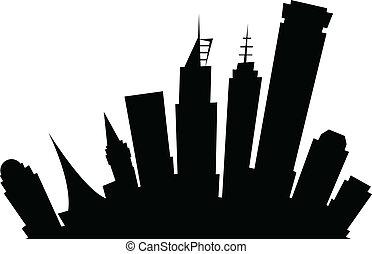 Cartoon Melbourne, Australia - Cartoon skyline silhouette of...