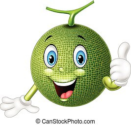 Cartoon melon giving thumb up