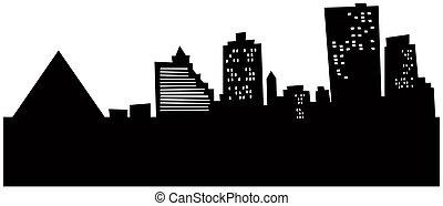 Cartoon skyline silhouette of the city of Memphis, Tennessee, USA