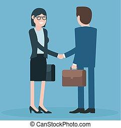 Cartoon men and women shaking hands