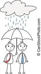 Cartoon men sharing umbrella