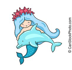 Cartoon mermaid in a wreath of red starfish, with cute little dolphin.