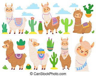 Cartoon mexican alpaca. Funny llamas, cartoon cute animal and llama with desert cactus vector set