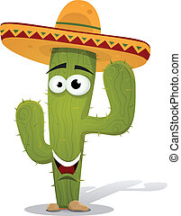 Cartoon Mexican Cactus Character - Illustration of a funny...