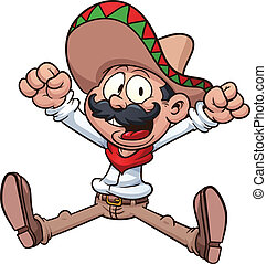 Mexican cowboy - Cartoon Mexican cowboy. Vector clip art...