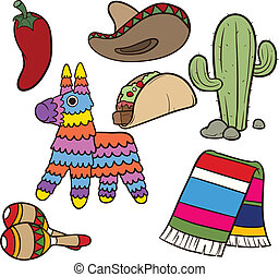 Mexican items - Cartoon Mexican items. Vector clip art ...