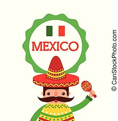 cartoon mexican man in a sombrero and poncho and maraca...