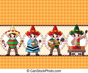 cartoon Mexican music band ,board card, vector