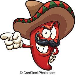 Mexican pepper - Cartoon Mexican pepper. Vector clip art ...