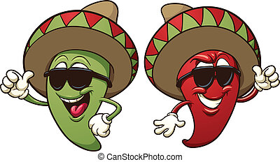 Cartoon mexican chili peppers. Vector clip art illustration with simple gradients. Each on a separate layer.
