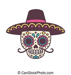Cartoon Mexican sugar skull vector illustration for Dia de los Muertos (Day of the Dead). Cute male skull with mustache and sombrero hat.