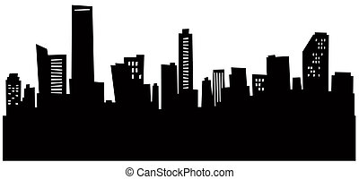 Cartoon Miami Skyline - Cartoon skyline silhouette of Miami,...