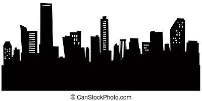 Cartoon Miami Skyline - Cartoon skyline silhouette of Miami,...