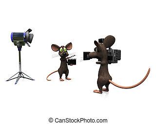Cartoon mice filming.