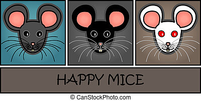 Cartoon mice header - Mice paper header or web banner: Cute...