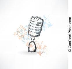 cartoon microphone grunge icon.