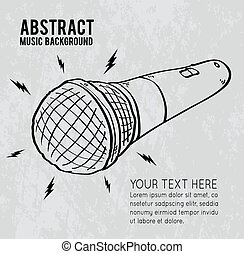 Cartoon microphone on gray background, vector illustration