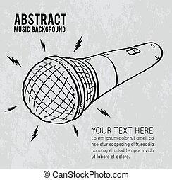 Cartoon microphone on gray background, vector illustration