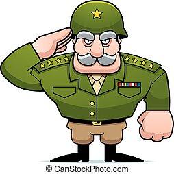 cartoon, militær, general, hilsenen