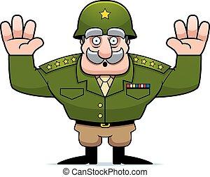 cartoon, militær, general, overgivelse
