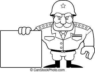 cartoon, militær, general, tegn