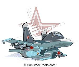 Cartoon Military Airplane - Vector Cartoon Fighter Plane. ...