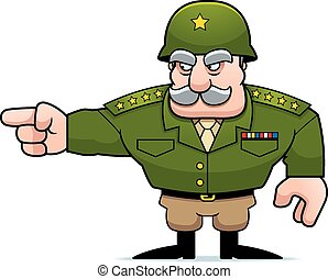 Cartoon Military General Pointing - An illustration of a...